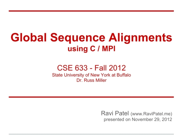 Screenshot of Global Sequence Alignments